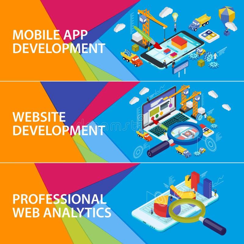 Plan isometrisk smartphone 3d och bärbar dator royaltyfri illustrationer