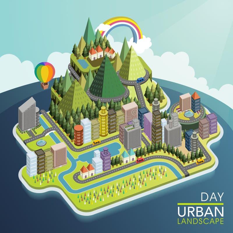 Plan isometrisk stads- illustration för landskap 3d vektor illustrationer