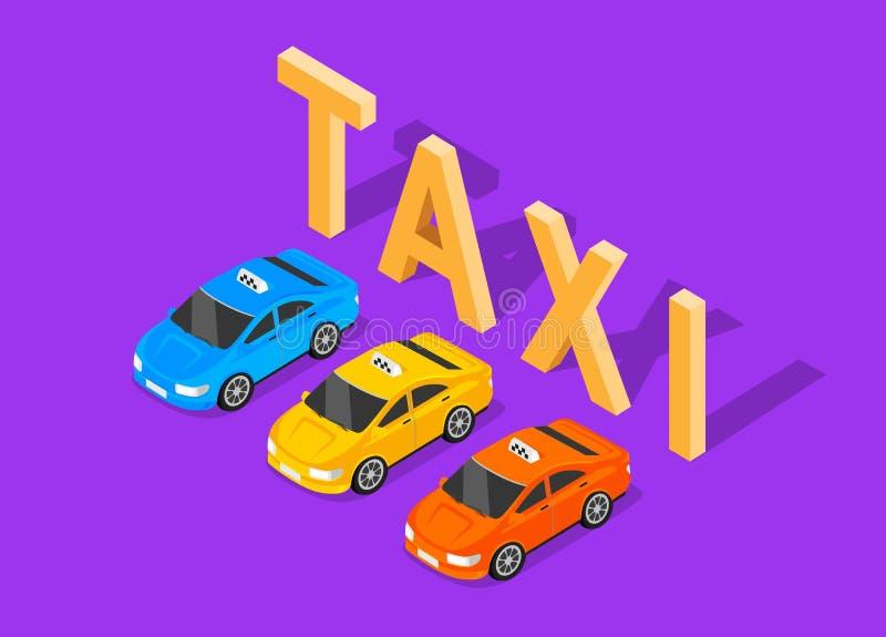 Plan isometrisk taxi för bil 3d vektor illustrationer