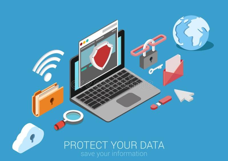 Plan isometrisk vektor för begrepp för skydd för data 3d infographic stock illustrationer