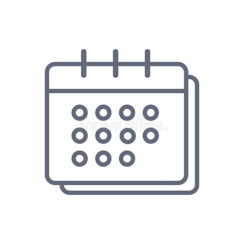 Plan kalendersymbol Kalender p? v?ggen royaltyfri illustrationer