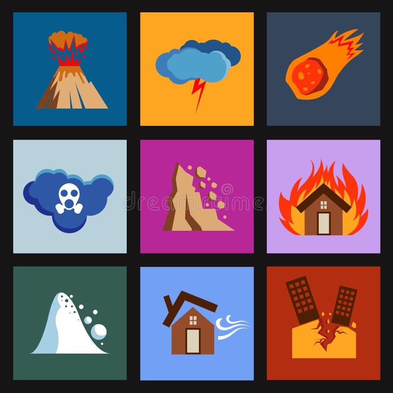 Plan katastrof, skadevektorsymboler royaltyfri illustrationer