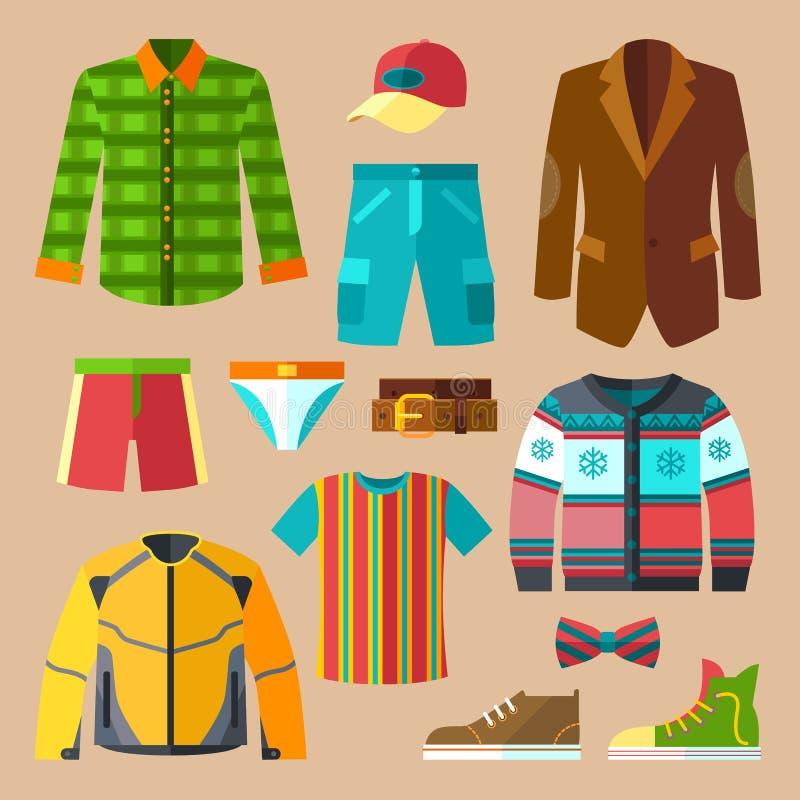 Plan klädsymbolsuppsättning för män vektor illustrationer