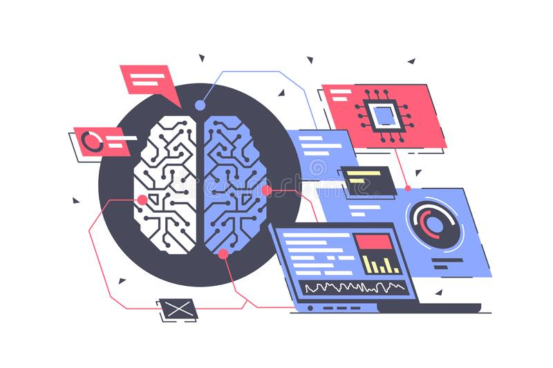 Plan konstgjord intelligens med royaltyfri illustrationer