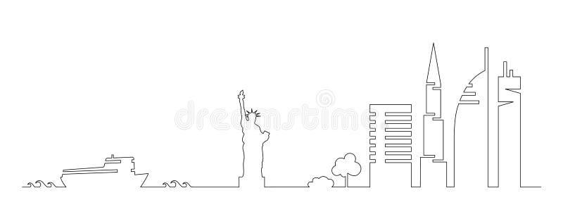 Plan konstnärlig vektordesign av New York City byggnader, skyskrapor, staty av frihetformkonturer som dras i minimalismslyle royaltyfri illustrationer