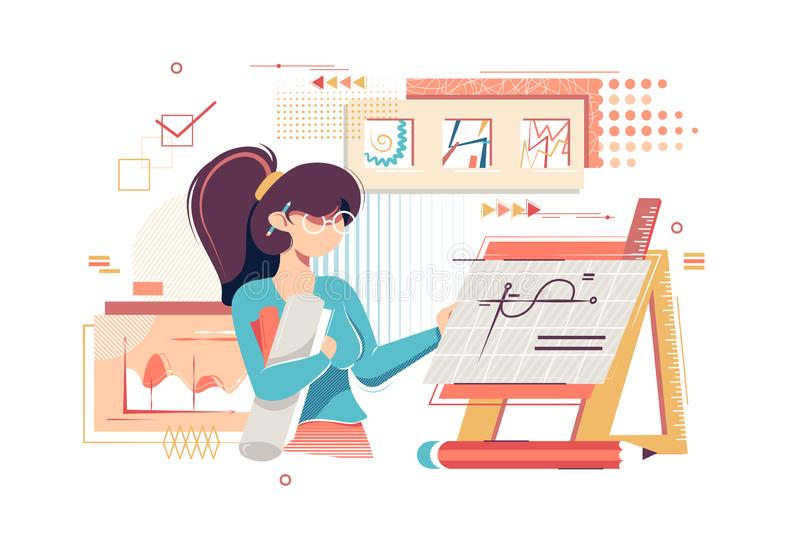 Plan konstnärtekniker för ung kvinna med teckningar, diagram och arbetsutrustning vektor illustrationer
