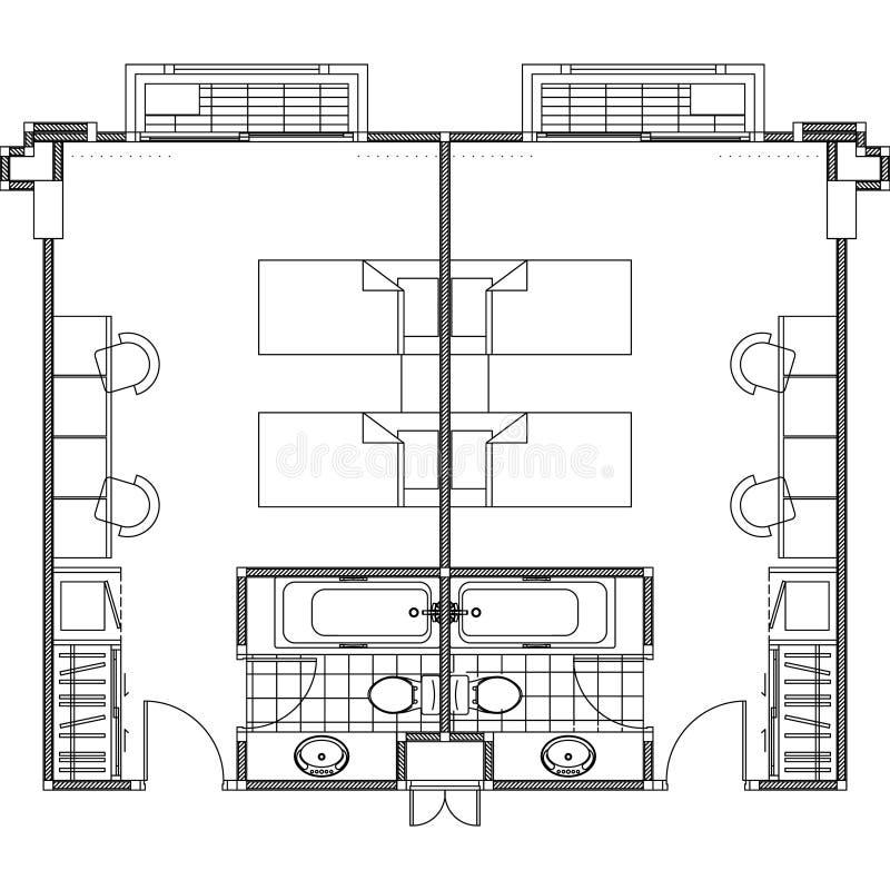 Plan konstruktionsplanvektor stock illustrationer