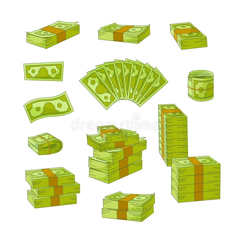 Plan kontant pengarhög för vektor, buntuppsättning stock illustrationer