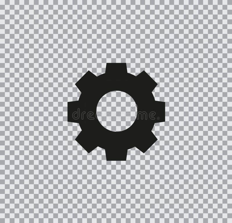 Plan kugghjulsymbol för vektor på genomskinlig bakgrund royaltyfri bild