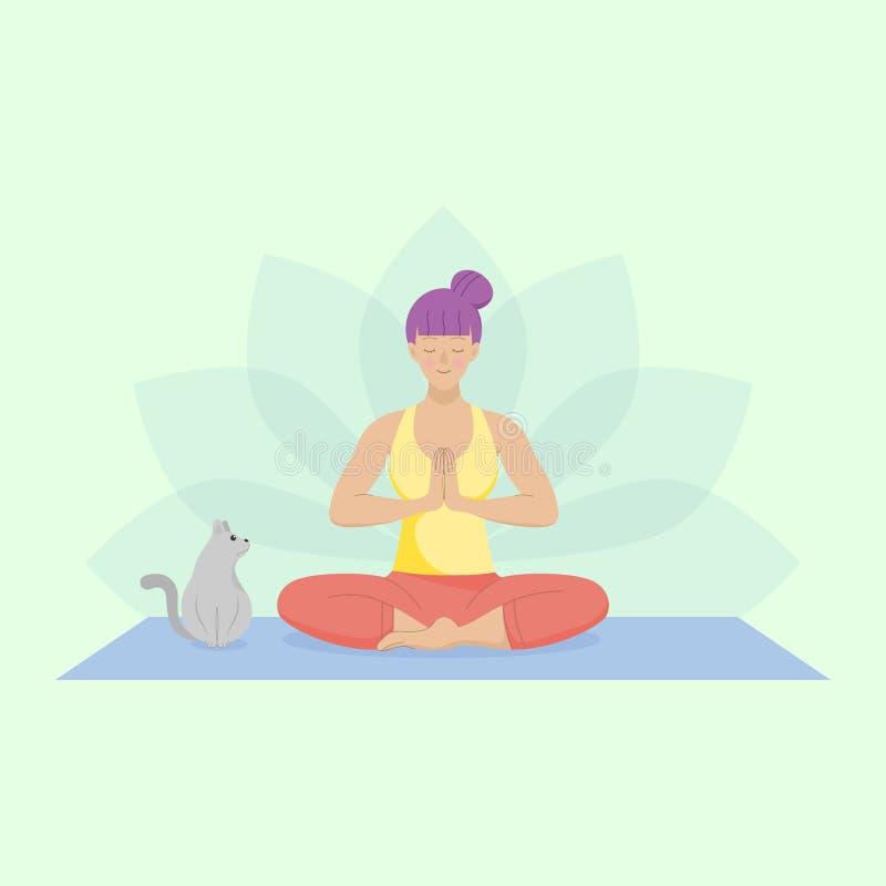 Plan kvinna som öva lätt yoga Sitta ner på det mattt med en gullig katt stock illustrationer