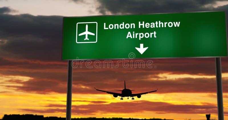 Plan landning i London Heathrow arkivbilder