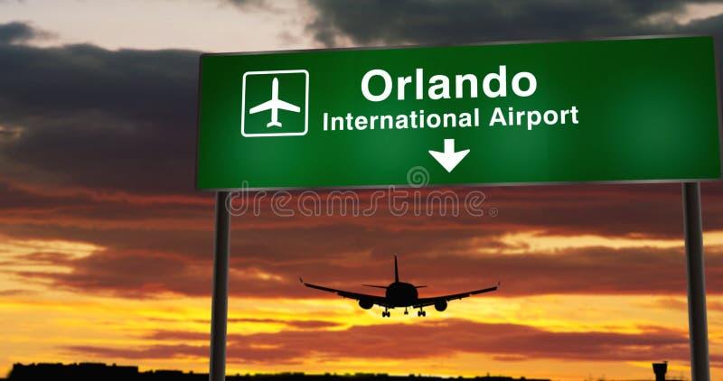 Plan landning i Orlando Florida stock illustrationer