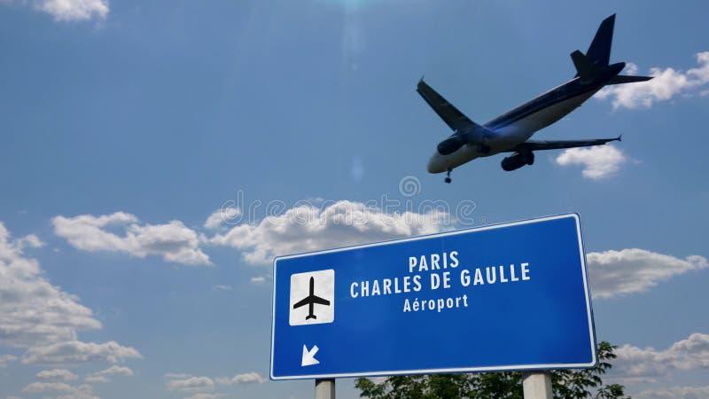 Plan landning i Paris Charles de Gaulle royaltyfri foto