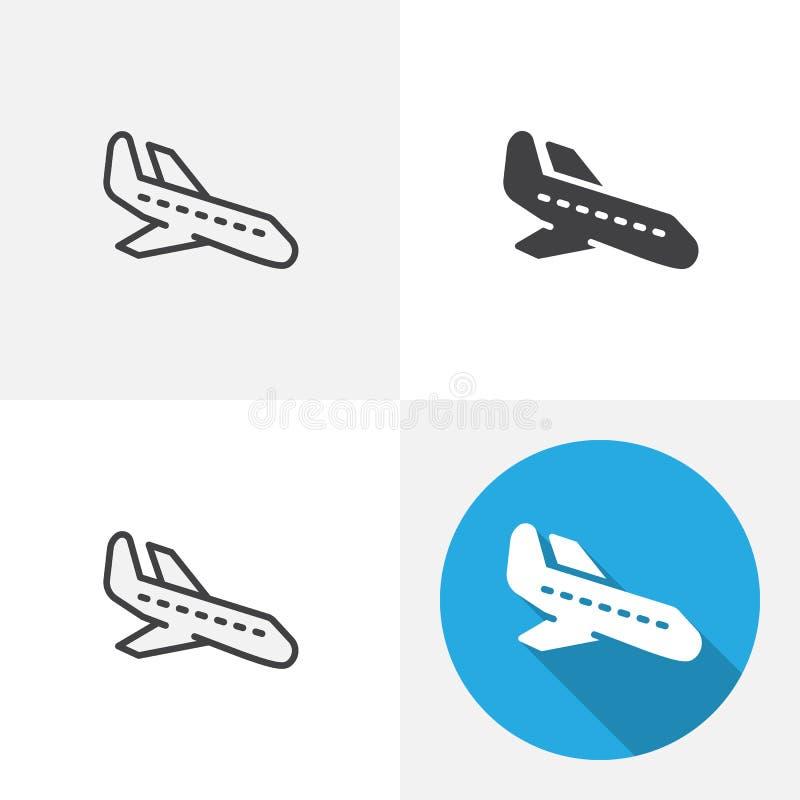 Plan landningsymbol royaltyfri illustrationer
