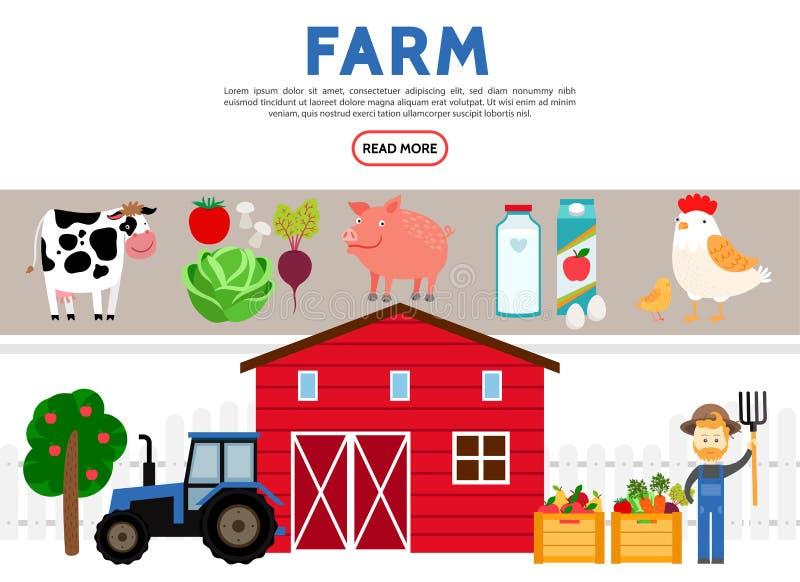 Plan lantbruksymbolssamling vektor illustrationer