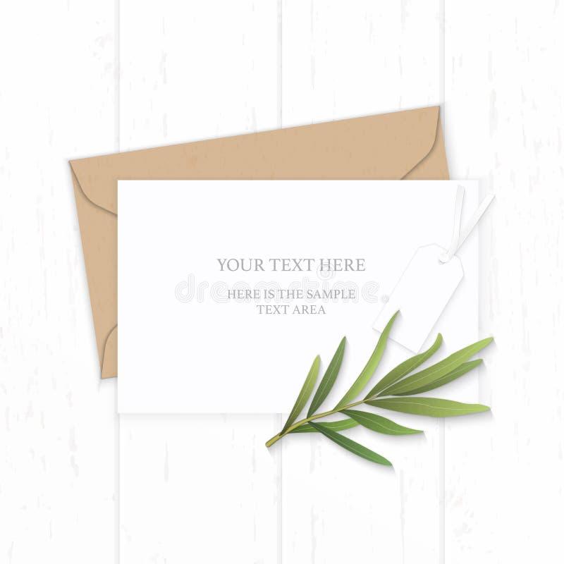 Plan lekmanna- för sammansättningsbokstav för bästa sikt elegant vit för kraft blad och taag för dragon för kuvert papper på träb royaltyfri illustrationer