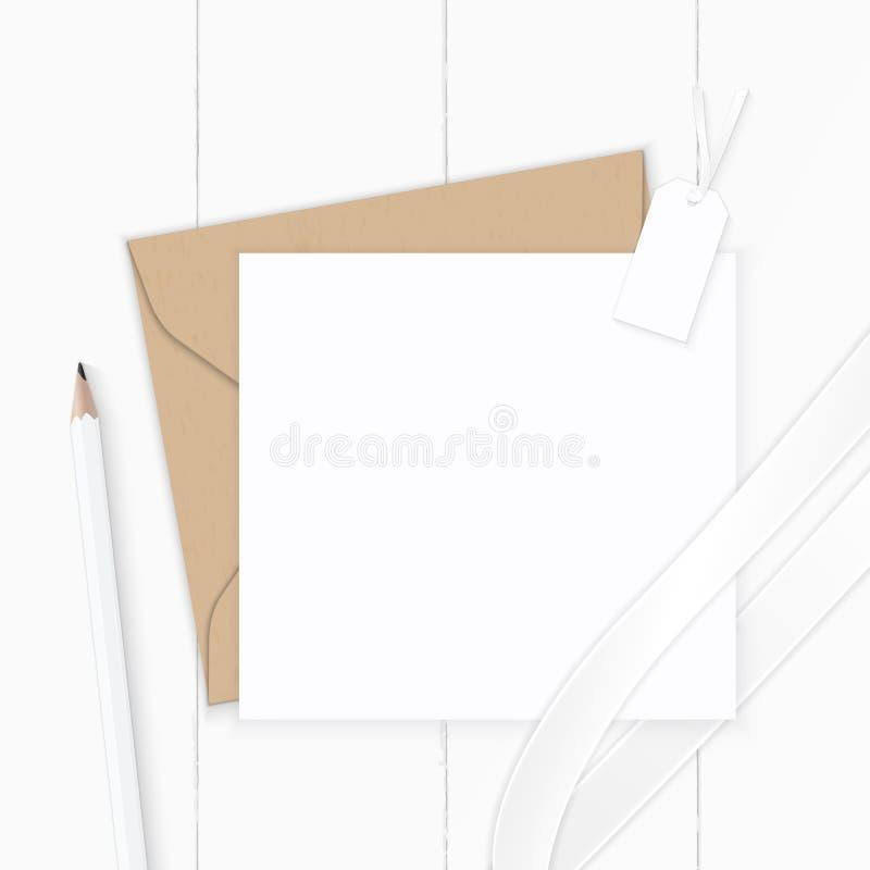 Plan lekmanna- för sammansättningsbokstav för bästa sikt elegant vit för kraft etikett för blyertspenna för kuvert papper och sid stock illustrationer