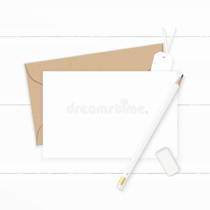 Plan lekmanna- för sammansättningsbokstav för bästa sikt elegant vit för kraft radergummi och etikett för blyertspenna för kuvert stock illustrationer