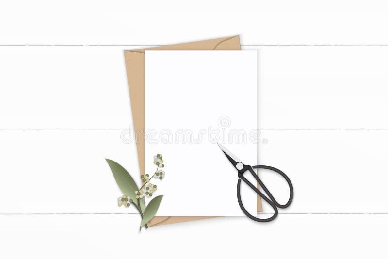 Plan lekmanna- för sammansättningsbokstav för bästa sikt elegant vit för kraft sax för blad för blomma för kuvert papper och tapp stock illustrationer