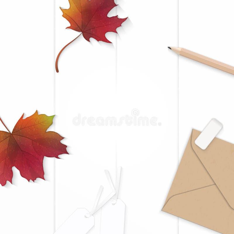Plan lekmanna- för sammansättningspapper för bästa sikt elegant vit för kraft för blomma för blad etikett för radergummi för blye vektor illustrationer