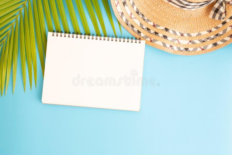Plan lekmanna- fotomellanrumsanteckningsbok och kokosnötblad och hatt på blå bakgrund, bästa sikt och kopieringsutrymme för monta arkivbild