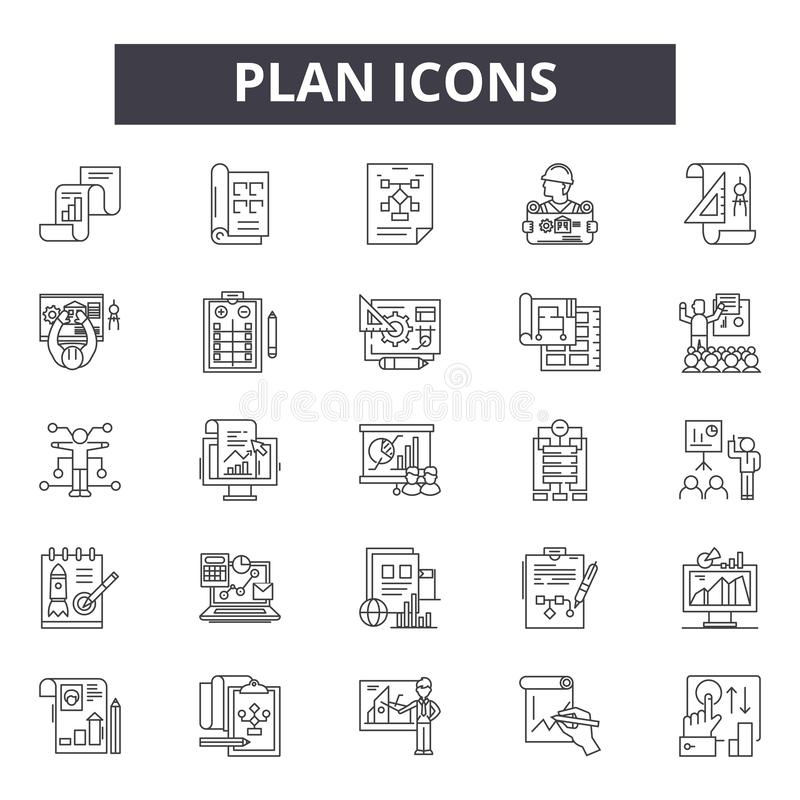 Plan line icons, signs, vector set, outline illustration concept vector illustration