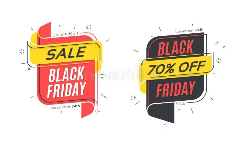 Plan linjär bubbla Black Friday Sale baner stock illustrationer