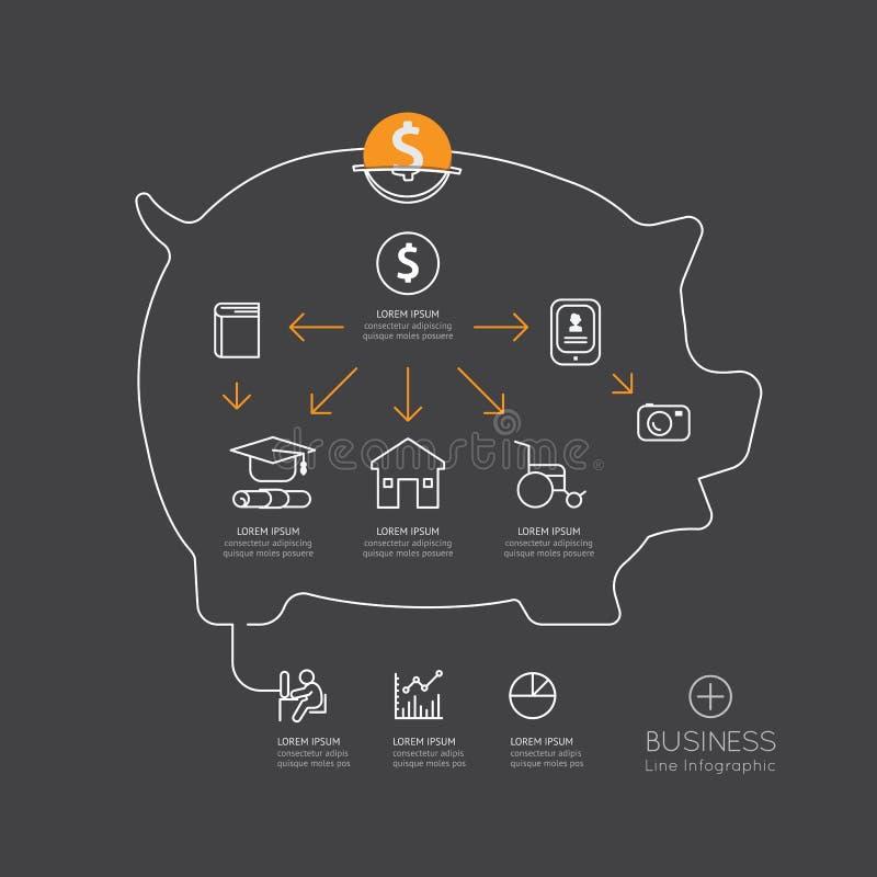 Plan linjär Infographic spargris med finansiella besparingar för mynt stock illustrationer