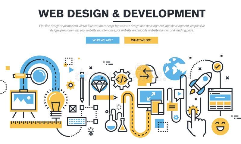 Plan linje begrepp för designvektorillustration för websitedesign och utveckling vektor illustrationer