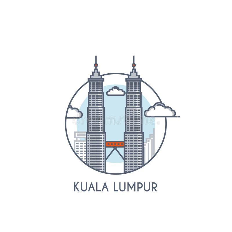 Plan linje deisgned symbol - Kuala Lumpur vektor illustrationer