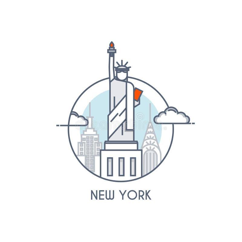Plan linje deisgned symbol - New York vektor illustrationer