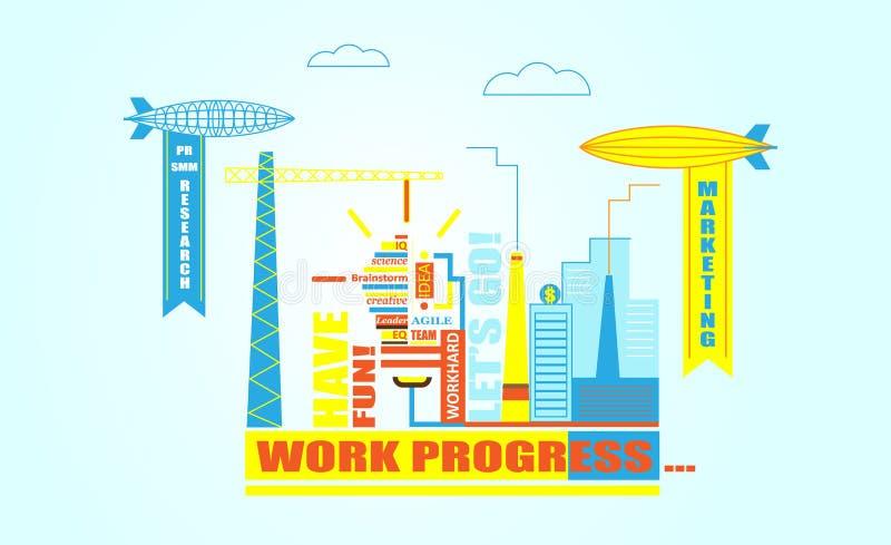 Plan linje design av rengöringsdukbanermallen med översiktssymboler av lagarbetsledning på stor idé stock illustrationer