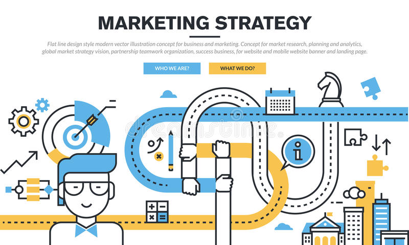 Plan linje designbegrepp för affär och marknadsföring stock illustrationer
