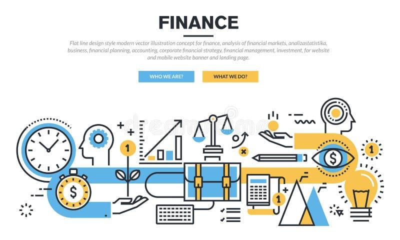 Plan linje designbegrepp för finans vektor illustrationer