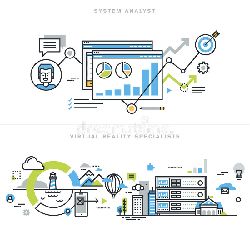 Plan linje designbegrepp för systemanalytiker och virtuell verklighetteknologi vektor illustrationer