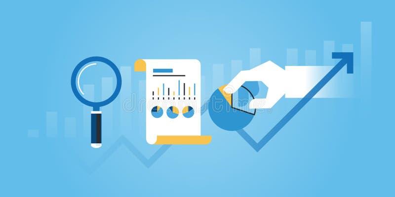 Plan linje designwebsitebaner av affärsforskning och analys stock illustrationer