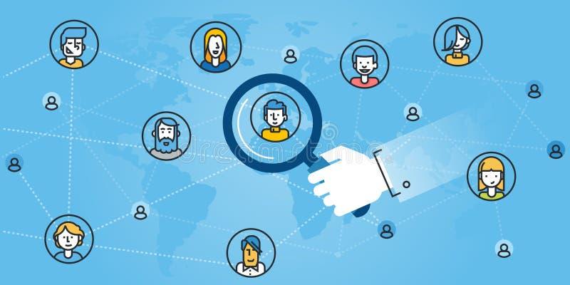 Plan linje designwebsitebaner av nätverkande stock illustrationer