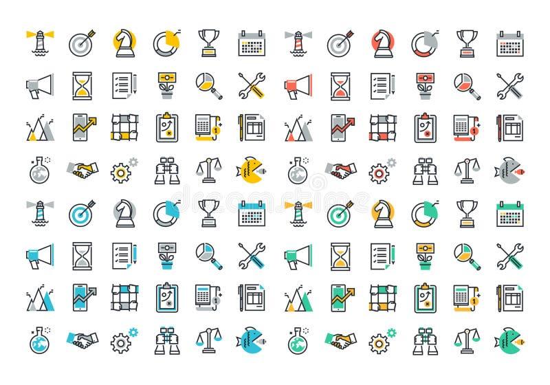 Plan linje färgrik symbolssamling av den företags affären royaltyfri illustrationer
