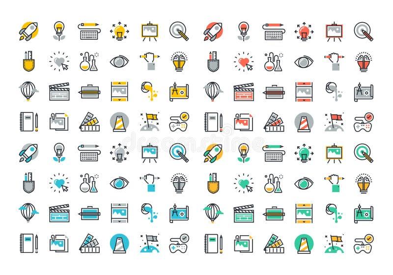Plan linje färgrik symbolssamling av den idérika processen royaltyfri illustrationer