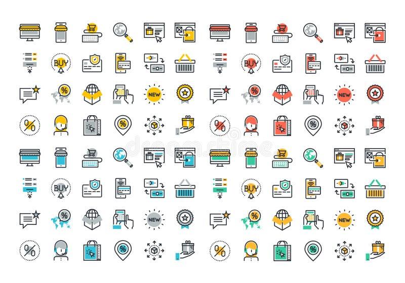 Plan linje färgrik symbolssamling av online-shopping vektor illustrationer