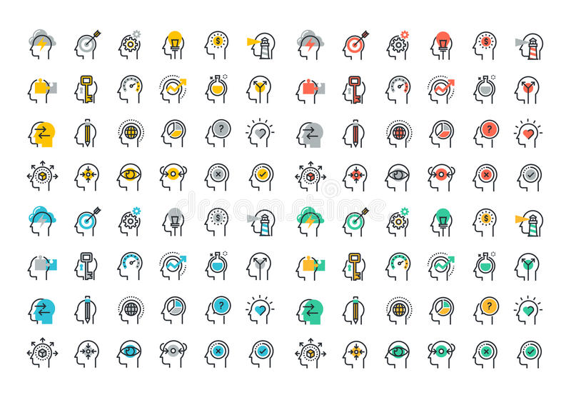 Plan linje färgrik symbolssamling av processen för mänsklig hjärna stock illustrationer