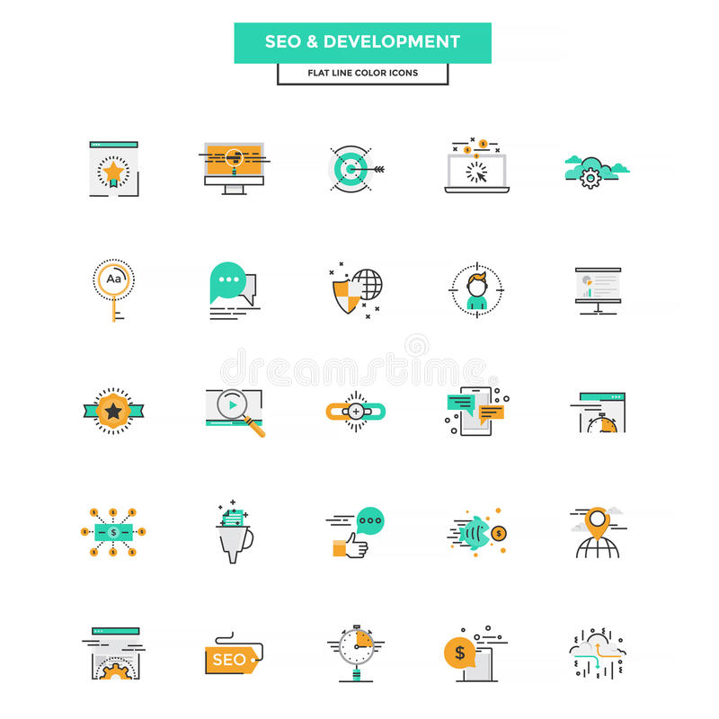 Plan linje färgsymboler SEO och utveckling stock illustrationer