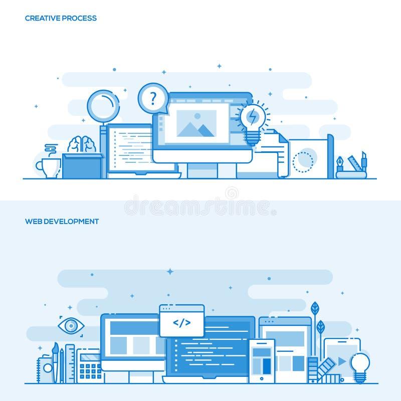 Plan linje idérik process för färgbegrepp och rengöringsdukutveckling royaltyfri illustrationer