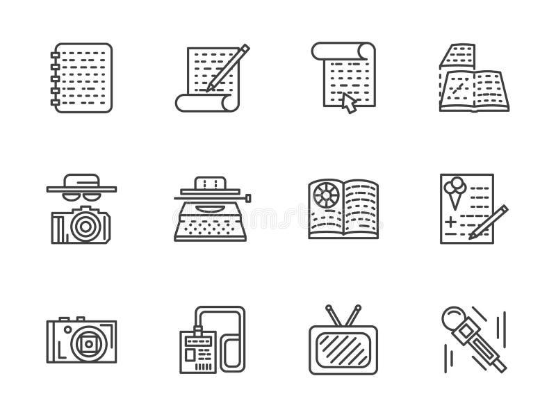 Plan linje journalistiksymbolsuppsättning stock illustrationer