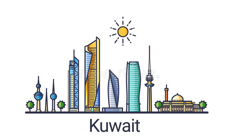 Plan linje Kuwait baner vektor illustrationer