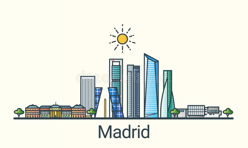 Plan linje Madrid baner royaltyfri illustrationer