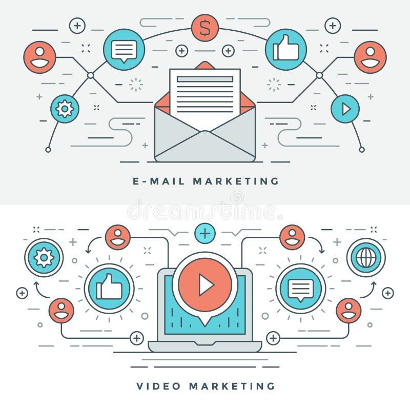 Plan linje mejl och illustration för vektor för videomarknadsföringsbegrepp Moderna tunna linjära slaglängdvektorsymboler stock illustrationer
