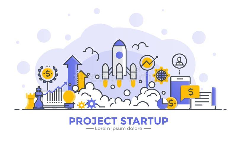 Plan linje modern begreppsillustration - projektstart stock illustrationer