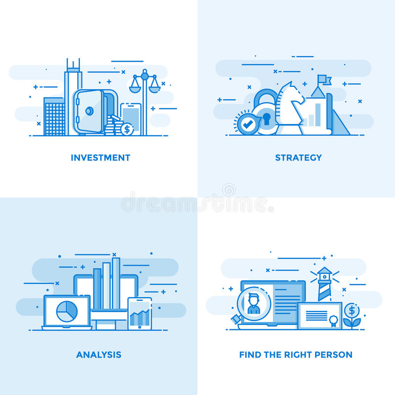 Plan linje planlagda begrepp 7 vektor illustrationer
