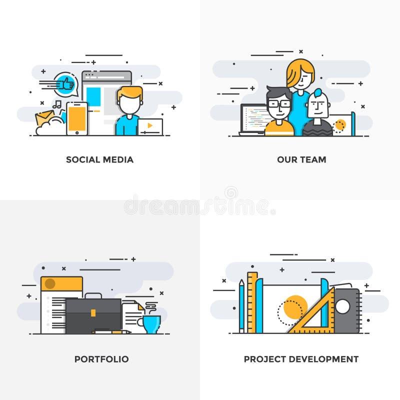 Plan linje planlagda begrepp 4-Colored stock illustrationer